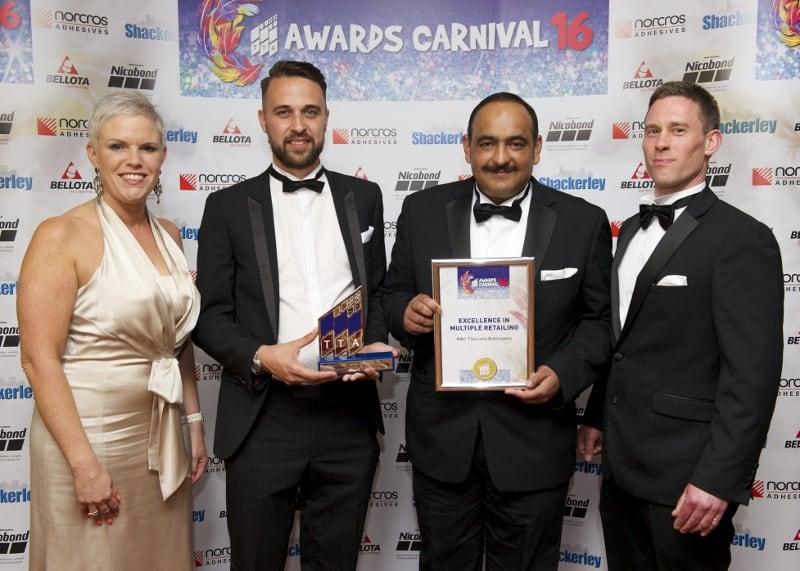 TTA Awards 2016-Excellence in Multiple Retailing, Kay Porter, Patrick Jenner, Ayub Sherwani and Gregori Banos