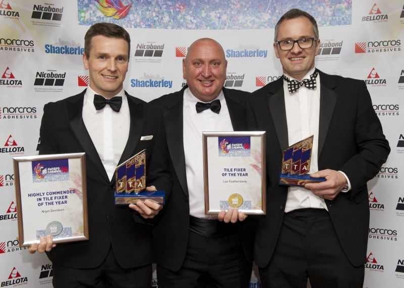 TTA Awards 2016 Tile Fixer of the Year, Nigel Davidson, Mark Ruthven and Lee Featherstone