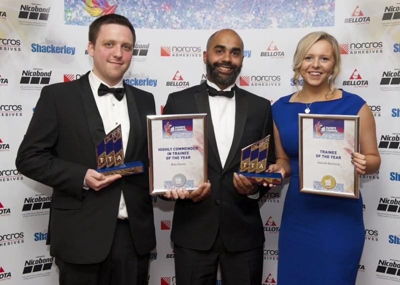 TTA Awards 2016 Trainee of the Year, Billy Davis, Aydin Djewal and Hannah Bamford