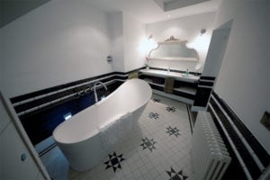 star pattern tiles modern bathroom greek style image no people photograph photography long smart well organised colour