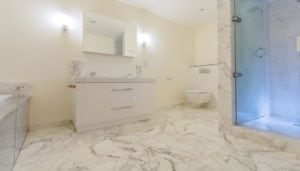 white marble bathroom LED lights modern style image no people photograph photography long smart well organised colour