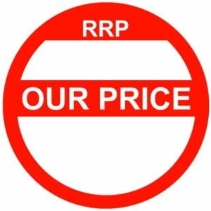 RRP our price red sticker